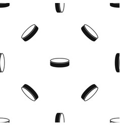 puck pattern seamless black vector image
