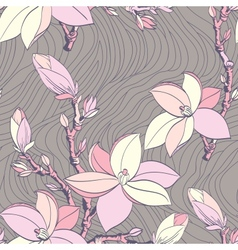 seamless vintage pattern with magnolia flower vector image