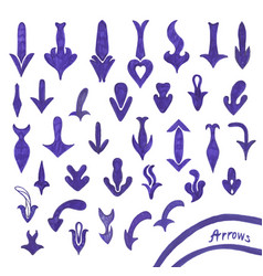 set of handwritten blue arrow vector image