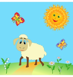 Sheep on meadow vector image