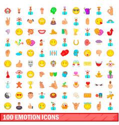 100 emotion icons set cartoon style vector