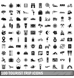 100 tourist trip icons set simple style vector