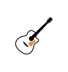 acoustic guitar icon design template isolated vector image