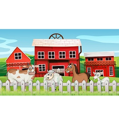 animals inside fence vector image