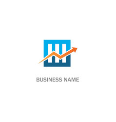 arrow business progress square line logo vector image