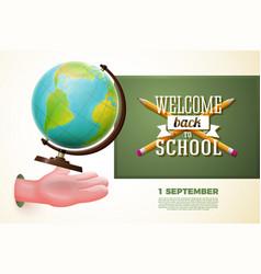 back to school banner cartoon hand catching globe vector image