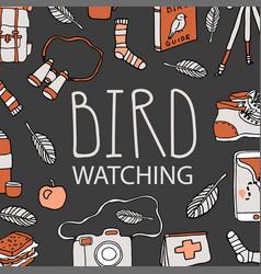 Bird watching birding and ornithology concept vector