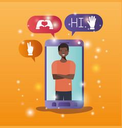 black man in smartphone with social media bubbles vector image