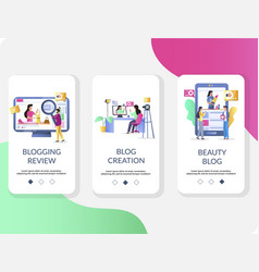 blogging mobile app onboarding screens vector image