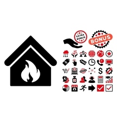 Building Fire Flat Icon with Bonus vector image