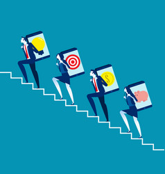business colleague climbing stairs to working vector image