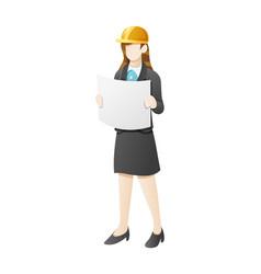 business woman wear construction helmet and open vector image