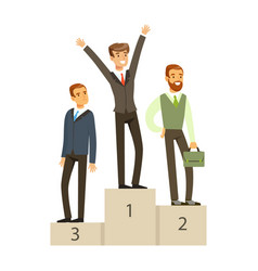 Businesspeople standing on a podium business vector