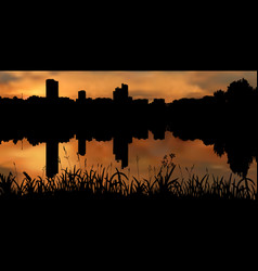 calm and peaceful city evening near river vector image