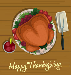 Cartoon thanksgiving dish roasted turkey top view vector