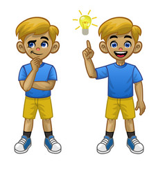 cartoon white boy thinking pose and found idea vector image