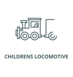 Children locomotive line icon vector
