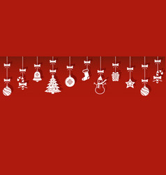 christmas hanging ornaments with shadow vector image