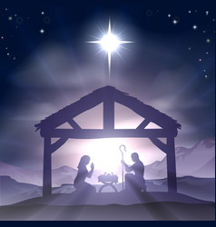 Christmas manger nativity scene vector