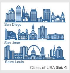 cities usa - san diego san jose saint louis vector image