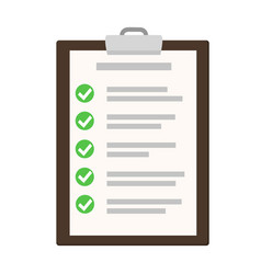 clipboard with checklist on white flat of vector image