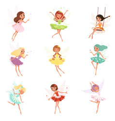 Collection of little fairies magical creatures vector