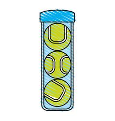 color crayon stripe cartoon tennis balls container vector image