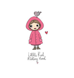 cute cartoon little girl red riding hood fairy vector image