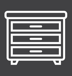 Drawer unit line icon furniture and interior vector
