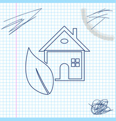eco friendly house line sketch icon isolated on vector image