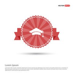 education simple icon - red ribbon banner vector image