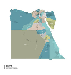 Egypt higt detailed map with subdivisions vector