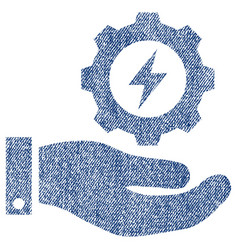 Electricity gear service hand fabric textured icon vector