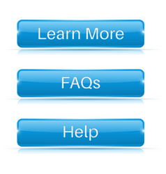 faqs learn more help buttons blue 3d icons vector image