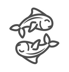 fishes marine life over white background line vector image