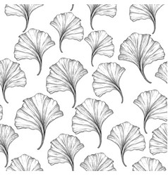 Floral seamless pattern with ginkgo leaves black vector