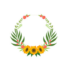 Floral wreath with sunflowers circle frame with vector