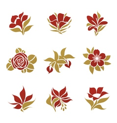 flowers - logo template set vector image