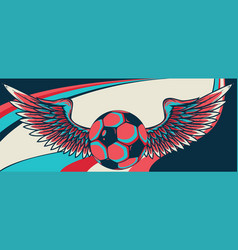 football ball with wings emblem soccer design vector image