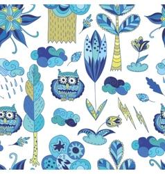 Fresh blue spring doodle pattern vector image