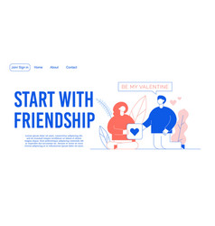 Friendship relationship building landing page vector