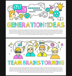 generation ideas team brainstorming banner vector image