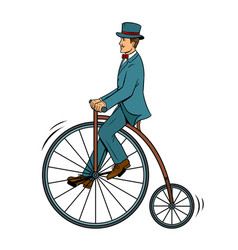 gentleman ride vintage bicycle pop art vector image