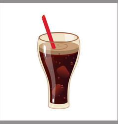 Glass with soft soda drink and a straw street vector