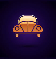 Gold car volkswagen beetle icon isolated on dark vector