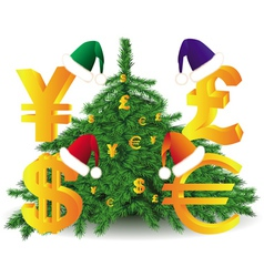gold currency xmas tree vector image