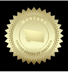 Gold star label Montana vector