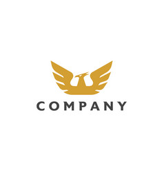 golden falcon bird logo design on white vector image