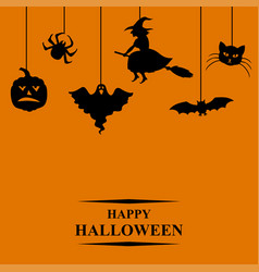 halloween symbols greeting card vector image