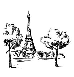 Hand draw eiffel tower vector